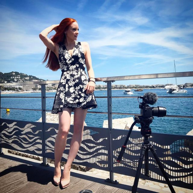 Filming for a documentary in Cannes cannes2017 cannesfilmfestival actress redheadgirlhellip